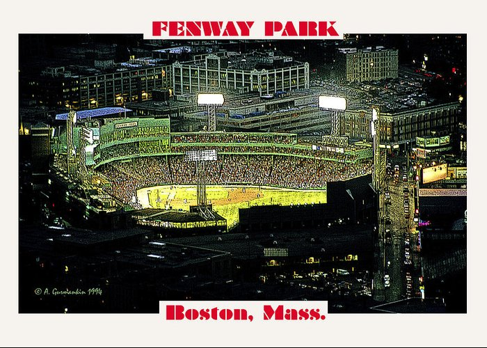 Night Greeting Card featuring the photograph Night Baseball Fenway Park Boston Massachusetts by A Gurmankin