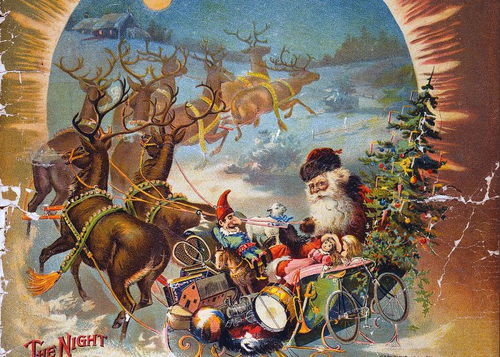 1896 Greeting Card featuring the photograph Night Before Christmas by Granger
