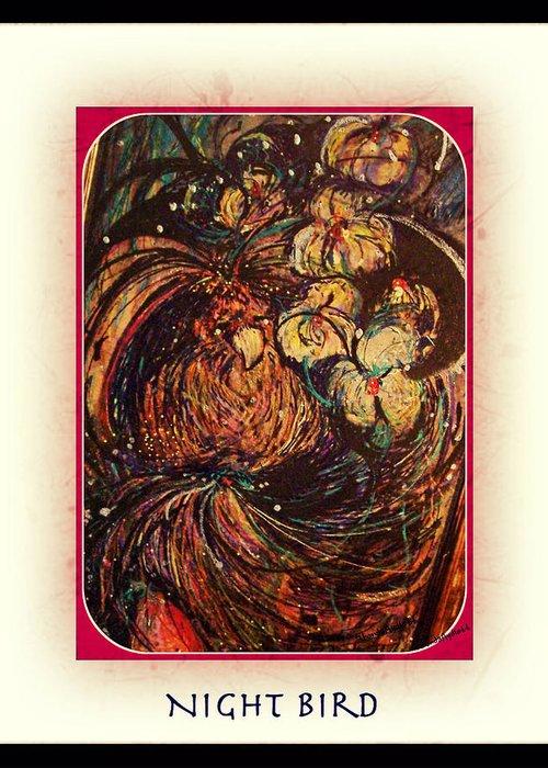 Bird Greeting Card featuring the mixed media Night Bird by YoMamaBird Rhonda