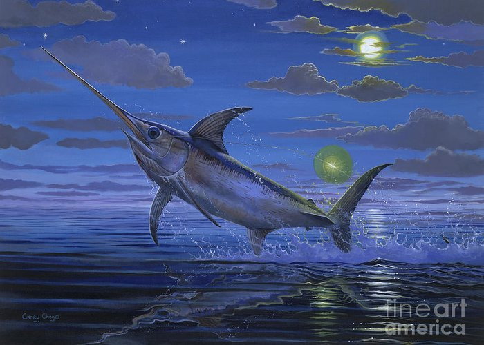 Swordfish Greeting Card featuring the painting Night Bite Off0066 by Carey Chen