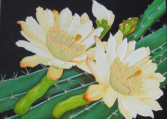 Acrylic Greeting Card featuring the painting Night Blooming Cacti by Carol Sabo