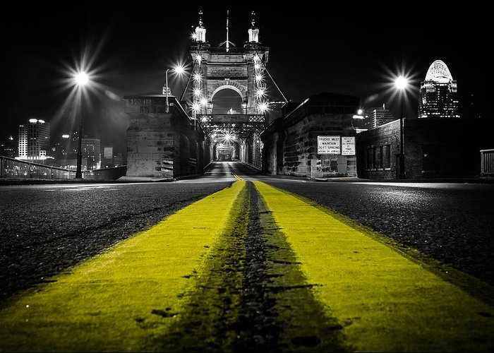 Roebling Greeting Card featuring the photograph Night Bridge by Keith Allen