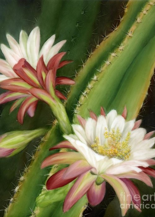 Floral Greeting Card featuring the painting Night Cereus by Summer Celeste