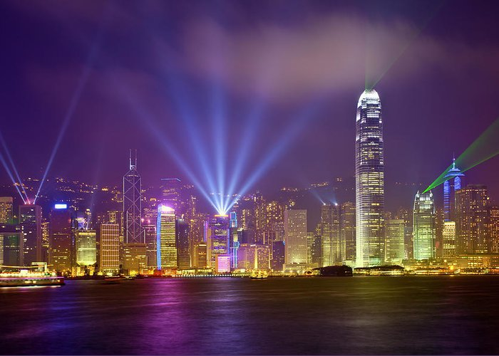 Chinese Culture Greeting Card featuring the photograph Night Cityscape Of Hongkong by Ithinksky