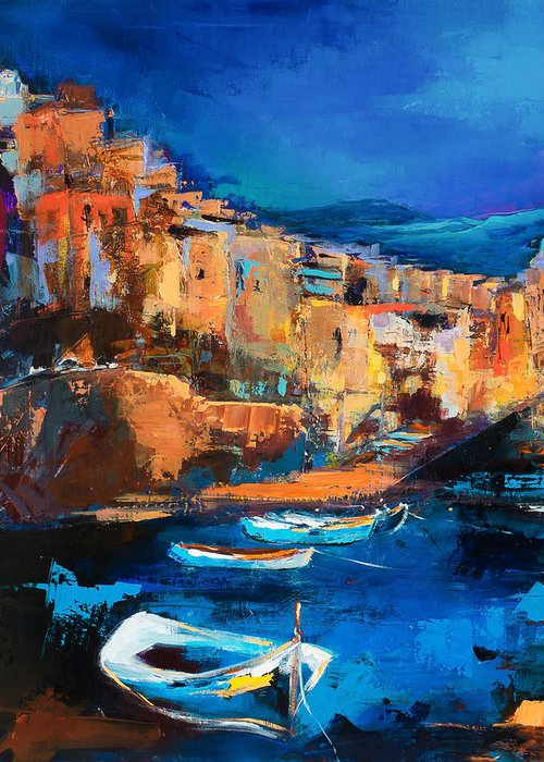 Night Colors Over Riomaggiore Greeting Card featuring the painting Night Colors Over Riomaggiore - Cinque Terre by Elise Palmigiani