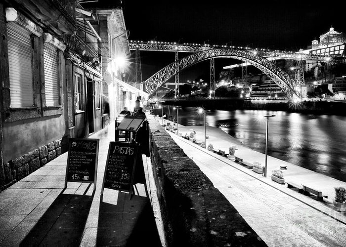 Night Dining In Porto Greeting Card featuring the photograph Night Dining In Porto by John Rizzuto