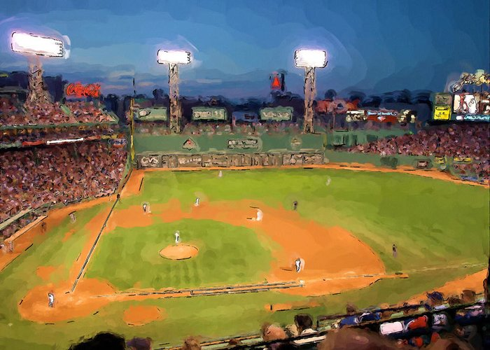 Baseball Greeting Card featuring the painting Night Fenway Pop by John Farr