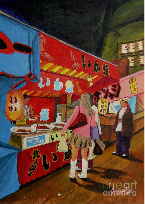 Japan Greeting Card featuring the painting Night Festival by Anthony Dunphy