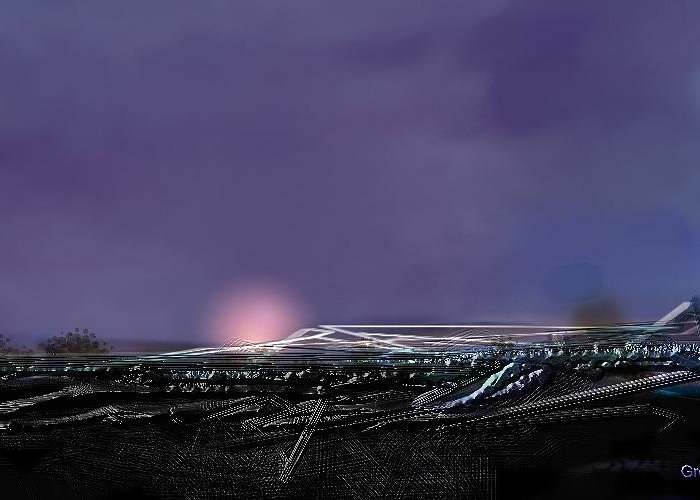 Airport.night Landing.runway.airplane Landing Greeting Card featuring the digital art Night Landing Approch by Greg Stew