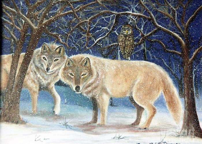 Wolves Greeting Card featuring the painting Night Life In The Forest by Lora Duguay