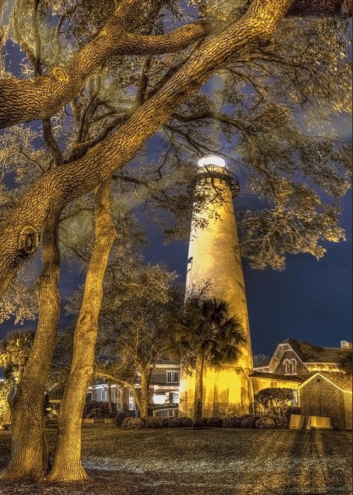 Clouds Greeting Card featuring the photograph Night Lighthouse by Debra and Dave Vanderlaan