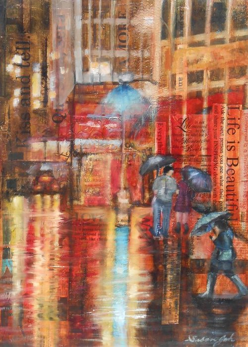 Mixed Media Oil Painting On Paper 24x20 Greeting Card featuring the painting Night Lights by Susan Goh