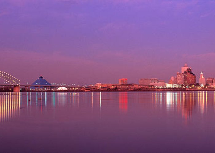 Photography Greeting Card featuring the photograph Night Memphis Tn by Panoramic Images