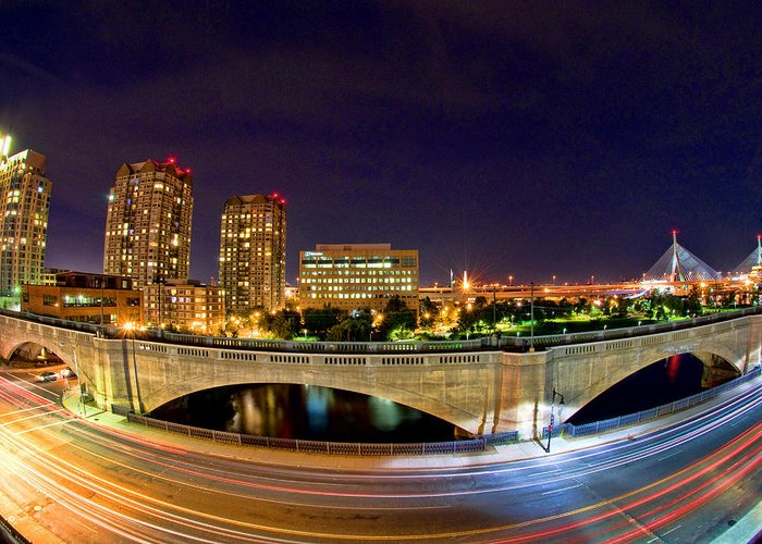 Boston Greeting Card featuring the photograph Night Moves 2-boston by Joann Vitali