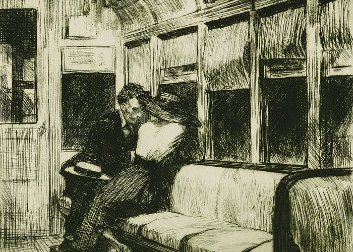 20th Century; Adult; Apparel; Attire; Bench; Black Greeting Card featuring the drawing Night On The El Train by Edward Hopper