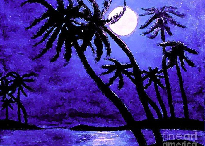 Night On The Islands Painterly Brushstrokes Greeting Card featuring the photograph Night On The Islands Painterly Brushstrokes by Barbara Griffin
