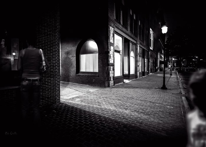 Night Greeting Card featuring the photograph Night People Main Street by Bob Orsillo