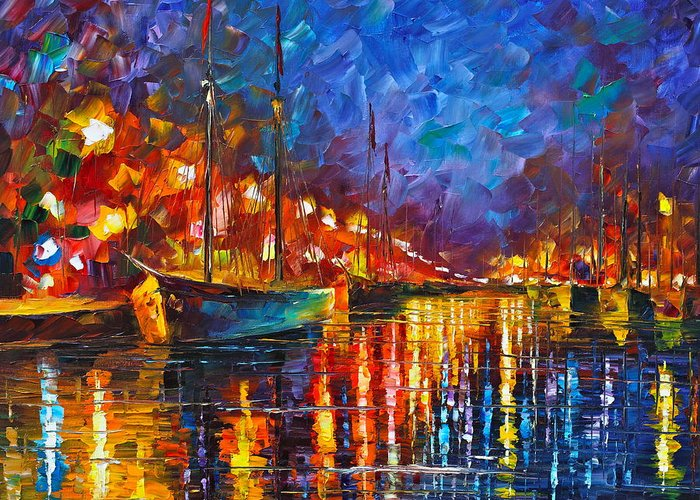 Sea Greeting Card featuring the painting Night Port by Leonid Afremov
