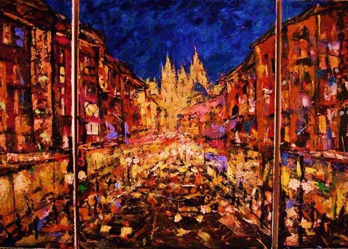 Modern Greeting Card featuring the painting Night Prague by Vladimir Domnicev