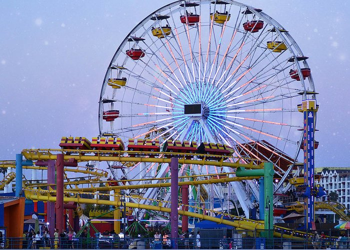 Santa Monica Pier Greeting Card featuring the photograph Night Riders by Fraida Gutovich