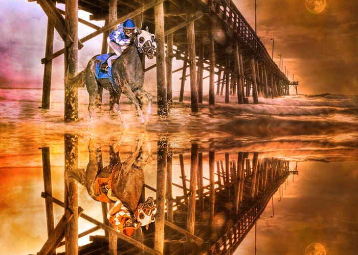 Horse Greeting Card featuring the photograph Night Run IIi Patriotic by Betsy Knapp