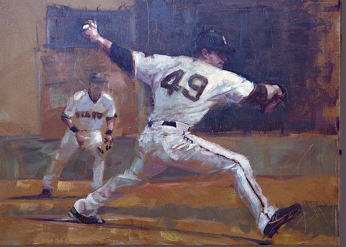 Javier Lopez Greeting Card featuring the painting Night Train by Darren Kerr