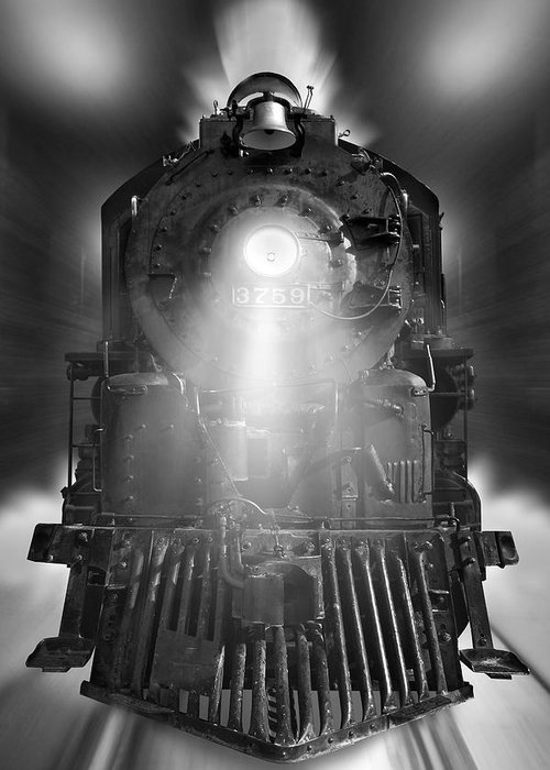 Transportation Greeting Card featuring the photograph Night Train On The Move by Mike McGlothlen
