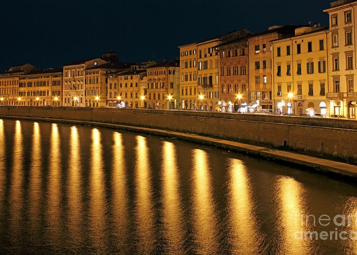 Town Greeting Card featuring the photograph Night View Of River Arno Bank In Pisa by Kiril Stanchev