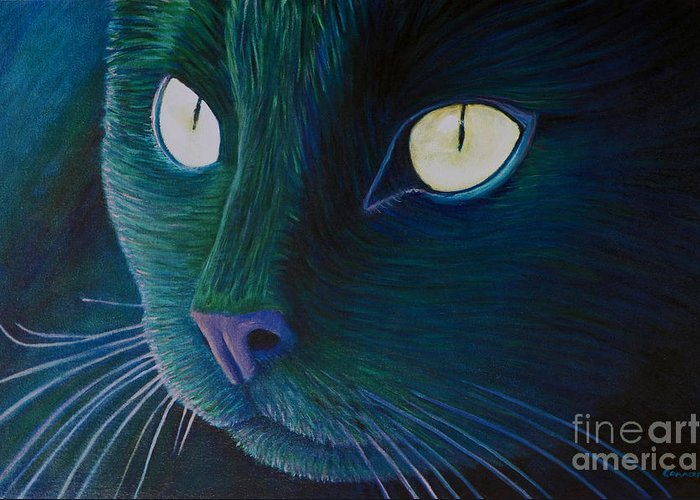 Cat Greeting Card featuring the painting Night Vision by Brian Commerford