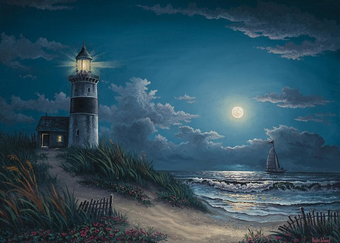 Lighthouse Greeting Card featuring the painting Night Watch by Kyle Wood