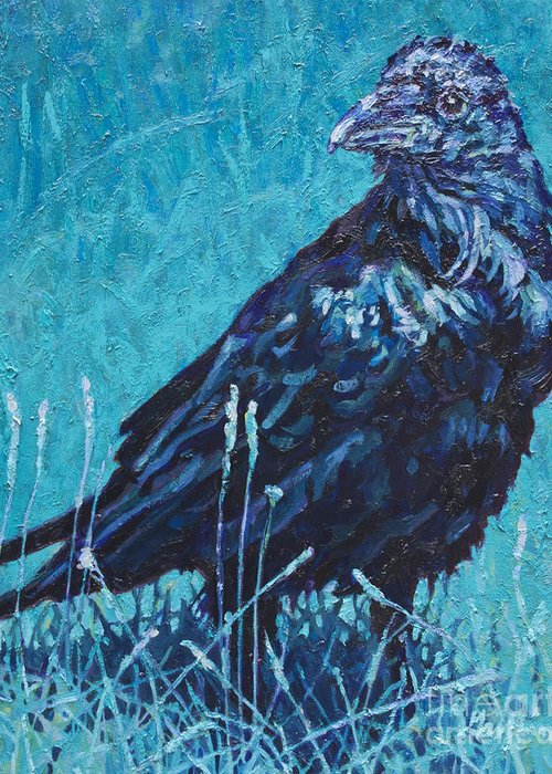Patricia A Griffin Greeting Card featuring the painting Night Watchman by Patricia A Griffin