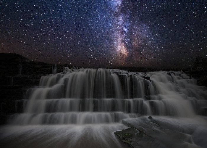 Milkyway Greeting Card featuring the photograph Nightfall by Aaron J Groen