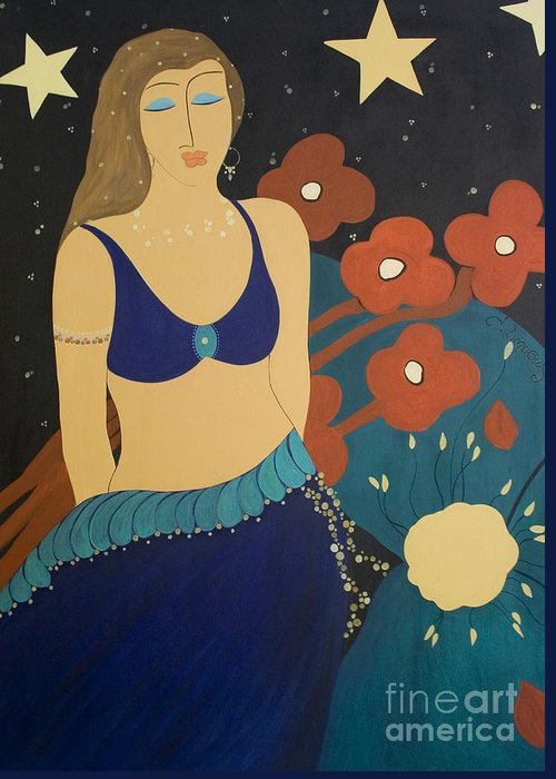 #stars Greeting Card featuring the painting Nightfall by Jacquelinemari
