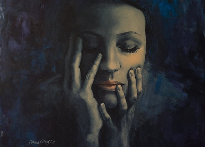 Love Greeting Card featuring the painting Nights In July by Dorina Costras