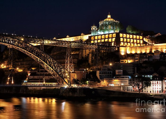 Nighttime In Porto Greeting Card featuring the photograph Nighttime In Porto by John Rizzuto