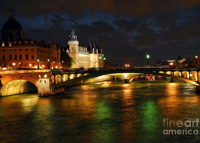 Architecture Greeting Card featuring the photograph Nighttime Paris by Elena Elisseeva