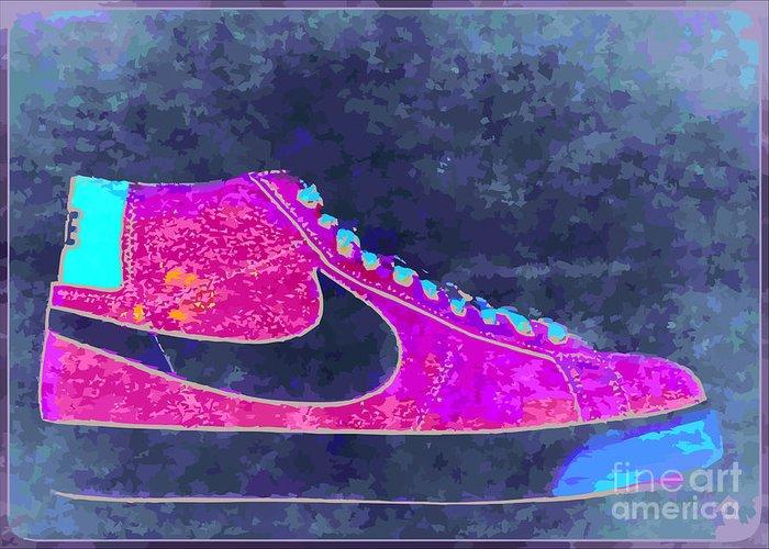Nike Greeting Card featuring the digital art Nike Blazer 2 by Alfie Borg