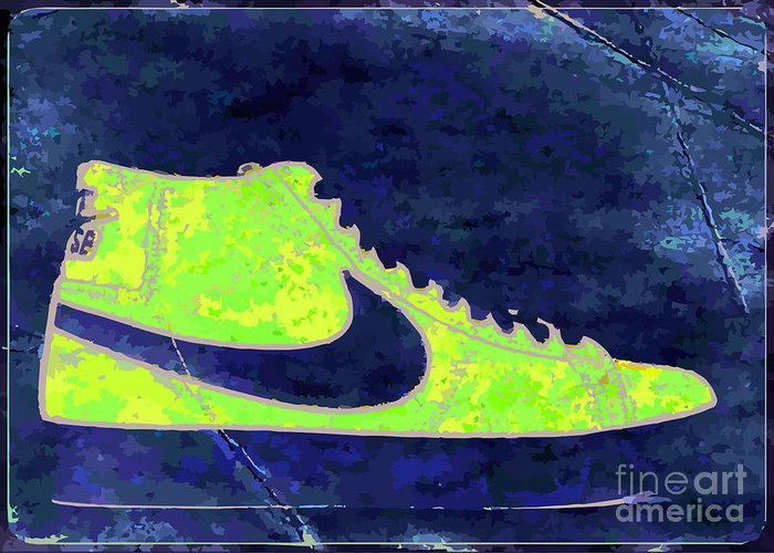 Nike Greeting Card featuring the digital art Nike Blazer 3 by Alfie Borg