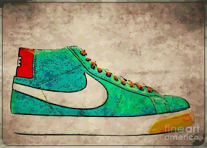 Nike Greeting Card featuring the digital art Nike Blazers by Alfie Borg
