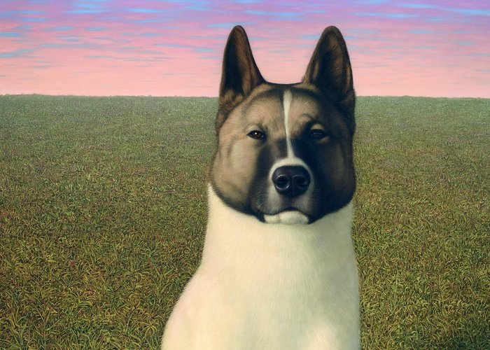 Akita Greeting Card featuring the painting Nikita by James W Johnson