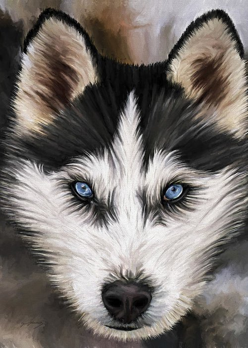 Dog Art Greeting Card featuring the painting Nikki by David Wagner