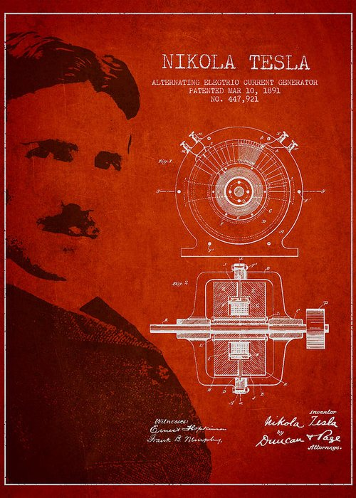 Tesla Greeting Card featuring the drawing Nikola Tesla Patent From 1891 by Aged Pixel