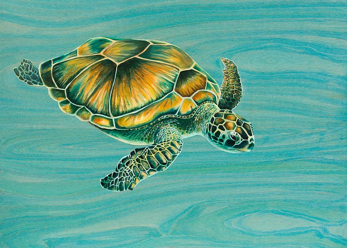 Emily Brantley Greeting Card featuring the painting Nik's Turtle by Emily Brantley
