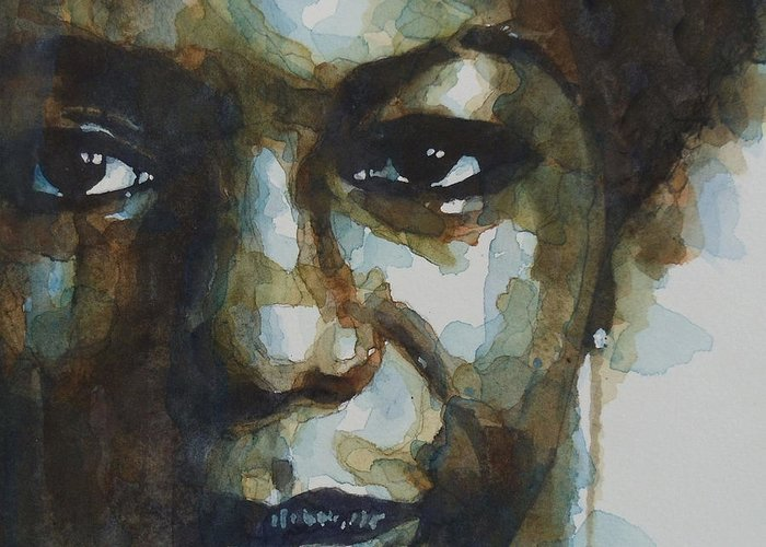 Nina Simone Greeting Card featuring the painting Nina Simone by Paul Lovering