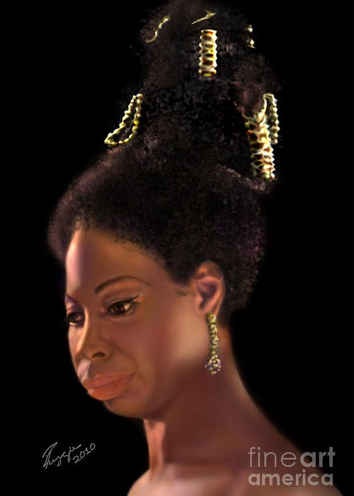 Jazz Greeting Card featuring the painting Nina Simone by Reggie Duffie