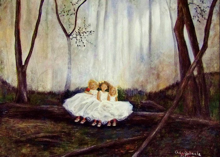 Landscape Greeting Card featuring the painting Ninas En El Bosque by Ada Gabriela Galvez-Mata Escalante