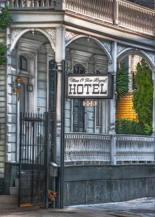 New Orleans Greeting Card featuring the photograph Nine O Five Royal by Brenda Bryant