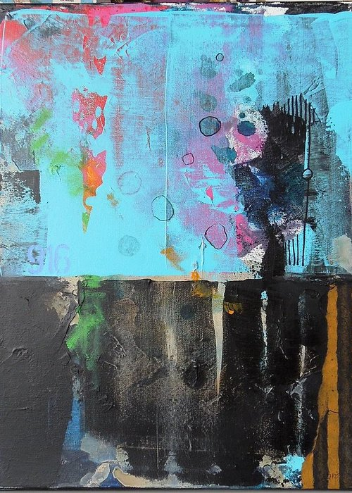 Abstract Mixed Media Collage On Canvas Greeting Card featuring the mixed media Nine One Six by Jo Ann Brown-Scott