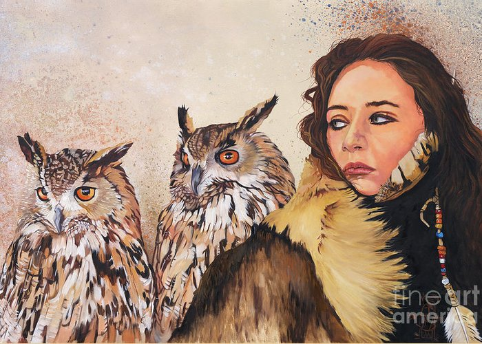 Owls Greeting Card featuring the painting Nine Stars Woman / Wise Counsel by J W Baker