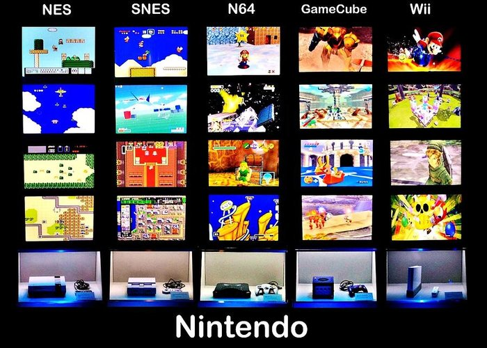 Nintendo Greeting Card featuring the photograph Nintendo History by Benjamin Yeager